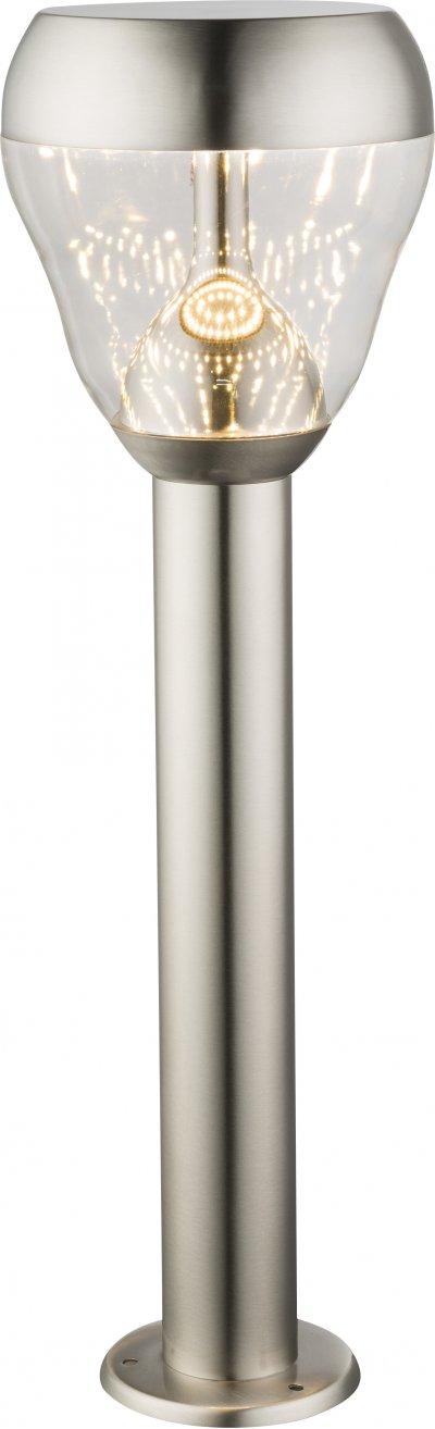 Светильник уличный Globo 32251Ожидается<br><br><br>Тип цоколя: LED<br>Цвет арматуры: матовый никель серебристый<br>Диаметр, мм мм: 150<br>Глубина, мм: 150<br>Высота, мм: 500