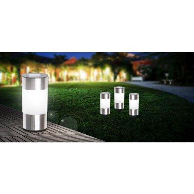 Светильник уличный (3 шт. в комплекте) Globo 33254-3Газонные<br><br><br>Тип цоколя: LED<br>Цвет арматуры: матовый никель<br>Количество ламп: 1<br>Диаметр, мм мм: 63<br>Высота, мм: 235<br>MAX мощность ламп, Вт: 0,06