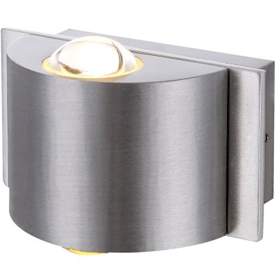 Светильник Globo 34177-2Настенные<br><br><br>Тип цоколя: LED<br>Цвет арматуры: серебро<br>Количество ламп: 1<br>Ширина, мм: 56<br>Длина, мм: 90<br>Высота, мм: 65<br>MAX мощность ламп, Вт: 3,5