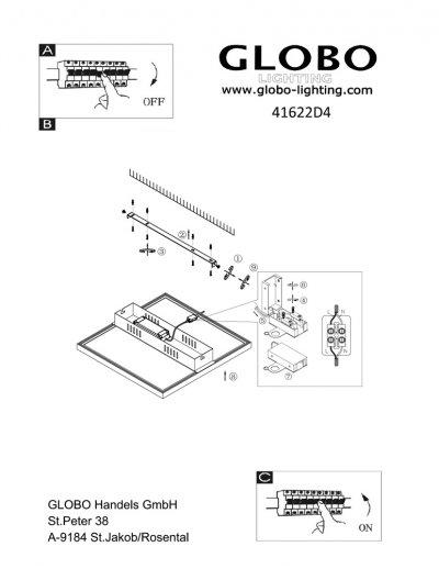 Светильник Globo 41622D4Ожидается<br><br><br>Тип цоколя: LED<br>Цвет арматуры: матовый никель<br>Количество ламп: 1<br>Диаметр, мм мм: 600<br>Высота, мм: 65<br>MAX мощность ламп, Вт: 45