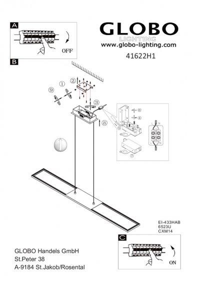 Светильник Globo 41622H1Ожидается<br><br><br>Тип цоколя: LED<br>Цвет арматуры: матовый никель<br>Количество ламп: 1<br>Ширина, мм: 1000<br>Длина, мм: 100<br>Высота, мм: 1200<br>MAX мощность ламп, Вт: 36