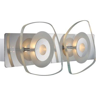 Светильник бра Globo 41710-2 ZarimaБра хай тек стиля<br><br><br>Тип лампы: галогенная / LED-светодиодная<br>Тип цоколя: LED<br>Цвет арматуры: серебристый<br>Количество ламп: 2<br>Ширина, мм: 130<br>Длина, мм: 330<br>Высота, мм: 70<br>MAX мощность ламп, Вт: 4,5
