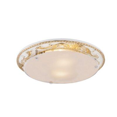 Светильник потолочный Globo 48085-2Потолочные<br><br><br>Тип товара: Светильник потолочный<br>Тип цоколя: E27<br>Количество ламп: 2<br>MAX мощность ламп, Вт: 60<br>Диаметр, мм мм: 335<br>Высота, мм: 75<br>Цвет арматуры: белый с золотом