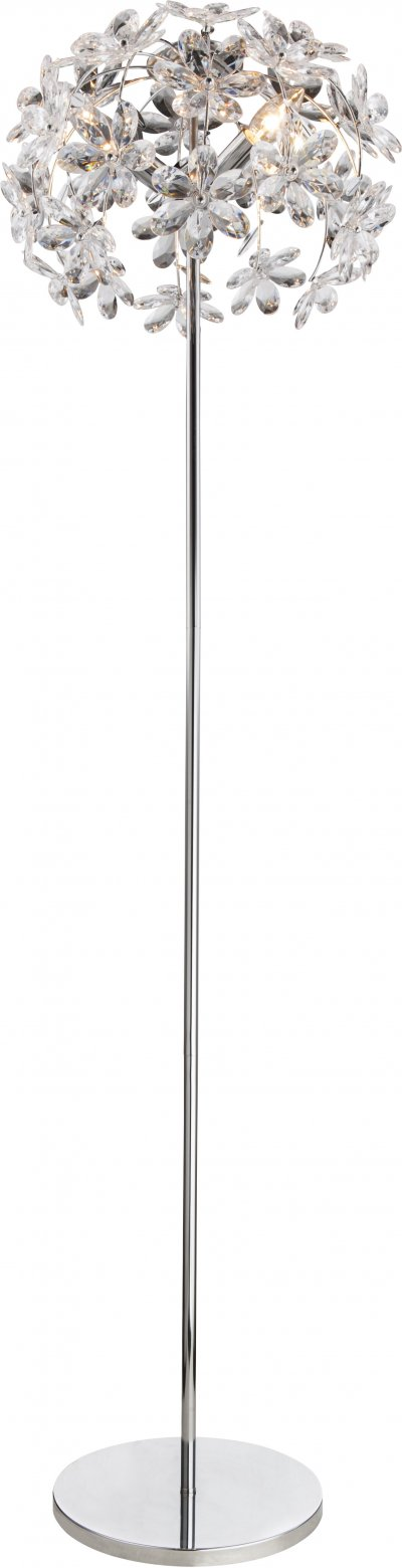 Торшер Globo 5132-3SФлористика<br><br><br>Тип цоколя: E14<br>Цвет арматуры: хром серебристый<br>Диаметр, мм мм: 410<br>Высота, мм: 1530