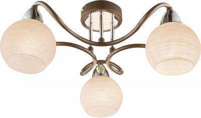 Люстра потолочная Globo 541005-3DПотолочные<br><br><br>Установка на натяжной потолок: Ограничено<br>S освещ. до, м2: 6<br>Тип лампы: Накаливания / энергосбережения / светодиодная<br>Тип цоколя: E14<br>Цвет арматуры: коричневый<br>Диаметр, мм мм: 450<br>Высота, мм: 190<br>MAX мощность ламп, Вт: 40