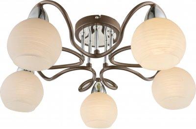 Люстра потолочная Globo 541005-5Dсовременные потолочные люстры модерн<br><br><br>Установка на натяжной потолок: Ограничено<br>S освещ. до, м2: 10<br>Тип лампы: Накаливания / энергосбережения / светодиодная<br>Тип цоколя: E14<br>Цвет арматуры: коричневый<br>Количество ламп: 5<br>Диаметр, мм мм: 520<br>Высота, мм: 195<br>MAX мощность ламп, Вт: 40