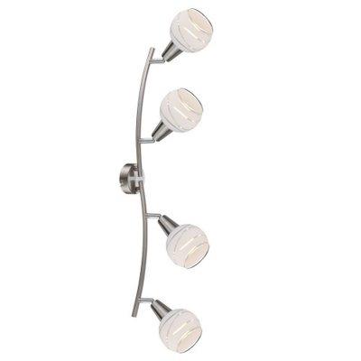 Светильник поворотный спот Globo 54341-4o ELLIOTTС 4 лампами<br>Светильники-споты – это оригинальные изделия с современным дизайном. Они позволяют не ограничивать свою фантазию при выборе освещения для интерьера. Такие модели обеспечивают достаточно качественный свет. Благодаря компактным размерам Вы можете использовать несколько спотов для одного помещения.  Интернет-магазин «Светодом» предлагает необычный светильник-спот Globo 54341-4O по привлекательной цене. Эта модель станет отличным дополнением к люстре, выполненной в том же стиле. Перед оформлением заказа изучите характеристики изделия.  Купить светильник-спот Globo 54341-4O в нашем онлайн-магазине Вы можете либо с помощью формы на сайте, либо по указанным выше телефонам. Обратите внимание, что у нас склады не только в Москве и Екатеринбурге, но и других городах России.<br><br>S освещ. до, м2: 8<br>Тип цоколя: E14<br>Цвет арматуры: серебристый<br>Количество ламп: 4<br>MAX мощность ламп, Вт: 40