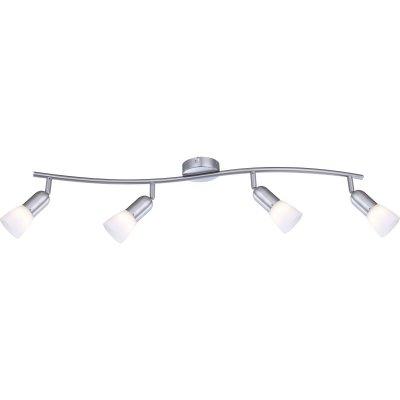 Светильник на 4 лампы Globo 5453-4 Cathyспоты 4 лампы<br>Светильники-споты – это оригинальные изделия с современным дизайном. Они позволяют не ограничивать свою фантазию при выборе освещения для интерьера. Такие модели обеспечивают достаточно качественный свет. Благодаря компактным размерам Вы можете использовать несколько спотов для одного помещения.  Интернет-магазин «Светодом» предлагает необычный светильник-спот Globo 5453-4 по привлекательной цене. Эта модель станет отличным дополнением к люстре, выполненной в том же стиле. Перед оформлением заказа изучите характеристики изделия.  Купить светильник-спот Globo 5453-4 в нашем онлайн-магазине Вы можете либо с помощью формы на сайте, либо по указанным выше телефонам. Обратите внимание, что у нас склады не только в Москве и Екатеринбурге, но и других городах России.<br><br>S освещ. до, м2: 10<br>Тип лампы: накал-я - энергосбер-я<br>Тип цоколя: E14<br>Цвет арматуры: серый<br>Количество ламп: 4<br>Ширина, мм: 110<br>Длина, мм: 790<br>Высота, мм: 120<br>MAX мощность ламп, Вт: 40