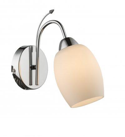Светильник настенный Globo 54709WСовременные<br><br><br>Тип лампы: Накаливания / энергосбережения / светодиодная<br>Тип цоколя: E27<br>Цвет арматуры: хром серебристый<br>Количество ламп: 1<br>Глубина, мм: 240<br>Высота, мм: 120<br>MAX мощность ламп, Вт: 60