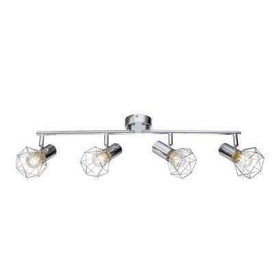Светильник поворотный спот Globo 54802-4С 4 лампами<br>Светильники-споты – это оригинальные изделия с современным дизайном. Они позволяют не ограничивать свою фантазию при выборе освещения для интерьера. Такие модели обеспечивают достаточно качественный свет. Благодаря компактным размерам Вы можете использовать несколько спотов для одного помещения.  Интернет-магазин «Светодом» предлагает необычный светильник-спот Globo 54802-4 по привлекательной цене. Эта модель станет отличным дополнением к люстре, выполненной в том же стиле. Перед оформлением заказа изучите характеристики изделия.  Купить светильник-спот Globo 54802-4 в нашем онлайн-магазине Вы можете либо с помощью формы на сайте, либо по указанным выше телефонам. Обратите внимание, что у нас склады не только в Москве и Екатеринбурге, но и других городах России.<br><br>S освещ. до, м2: 8<br>Тип цоколя: E14<br>Цвет арматуры: серебристый<br>Количество ламп: 4<br>Ширина, мм: 600<br>Высота, мм: 150<br>MAX мощность ламп, Вт: 40