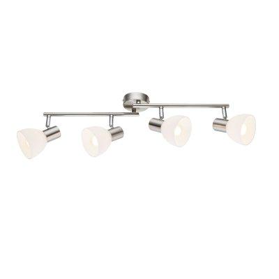 Светильник поворотный спот Globo 54918-4 ENIBASС 4 лампами<br>Светильники-споты – это оригинальные изделия с современным дизайном. Они позволяют не ограничивать свою фантазию при выборе освещения для интерьера. Такие модели обеспечивают достаточно качественный свет. Благодаря компактным размерам Вы можете использовать несколько спотов для одного помещения.  Интернет-магазин «Светодом» предлагает необычный светильник-спот Globo 54918-4 по привлекательной цене. Эта модель станет отличным дополнением к люстре, выполненной в том же стиле. Перед оформлением заказа изучите характеристики изделия.  Купить светильник-спот Globo 54918-4 в нашем онлайн-магазине Вы можете либо с помощью формы на сайте, либо по указанным выше телефонам. Обратите внимание, что у нас склады не только в Москве и Екатеринбурге, но и других городах России.<br><br>S освещ. до, м2: 8<br>Тип цоколя: E14<br>Цвет арматуры: серебристый<br>Количество ламп: 4<br>Ширина, мм: 600<br>Высота, мм: 150<br>MAX мощность ламп, Вт: 40