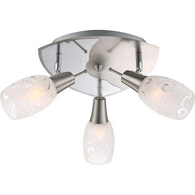 Люстра Globo 54984-3 FloritaПоворотные<br><br><br>Установка на натяжной потолок: Ограничено<br>S освещ. до, м2: 12<br>Крепление: Планка<br>Тип товара: Светильник поворотный спот<br>Скидка, %: 28<br>Тип лампы: накаливания / энергосбережения / LED-светодиодная<br>Тип цоколя: E14<br>Количество ламп: 3<br>MAX мощность ламп, Вт: 40<br>Диаметр, мм мм: 270<br>Высота, мм: 175<br>Цвет арматуры: серебристый