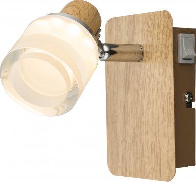 Спот Globo 56000-1Современные<br><br><br>Тип лампы: LED<br>Тип цоколя: LED<br>Цвет арматуры: коричневый<br>Количество ламп: 1<br>Глубина, мм: 115<br>Высота, мм: 70