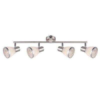 Светильник на 4 лампы Globo 56041-4 RachelС 4 лампами<br>Светильники-споты – это оригинальные изделия с современным дизайном. Они позволяют не ограничивать свою фантазию при выборе освещения для интерьера. Такие модели обеспечивают достаточно качественный свет. Благодаря компактным размерам Вы можете использовать несколько спотов для одного помещения.  Интернет-магазин «Светодом» предлагает необычный светильник-спот Globo 56041-4 по привлекательной цене. Эта модель станет отличным дополнением к люстре, выполненной в том же стиле. Перед оформлением заказа изучите характеристики изделия.  Купить светильник-спот Globo 56041-4 в нашем онлайн-магазине Вы можете либо с помощью формы на сайте, либо по указанным выше телефонам. Обратите внимание, что у нас склады не только в Москве и Екатеринбурге, но и других городах России.<br><br>S освещ. до, м2: 7<br>Цветовая t, К: 2400-2800<br>Тип лампы: накаливания / энергосберегающая / светодиодная<br>Тип цоколя: E14 LED<br>Цвет арматуры: серебристый<br>Количество ламп: 4<br>Ширина, мм: 600<br>Длина, мм: 610<br>Высота, мм: 145<br>Поверхность арматуры: матовый, глянцевый<br>MAX мощность ламп, Вт: 4<br>Общая мощность, Вт: 16