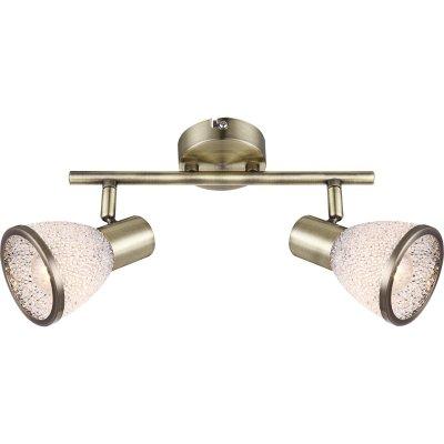 Светильник двойной Globo 56046-2 ElsaДвойные<br><br><br>Тип товара: Светильник поворотный спот<br>Скидка, %: 21<br>Цветовая t, К: 3000<br>Тип лампы: накаливания / энергосберегающая / светодиодная<br>Тип цоколя: E14 LED<br>Количество ламп: 2<br>MAX мощность ламп, Вт: 4<br>Диаметр, мм мм: 145<br>Высота, мм: 275<br>Поверхность арматуры: матовый<br>Цвет арматуры: бронзовый<br>Общая мощность, Вт: 8