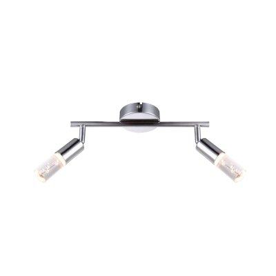 Светильник Globo 56199-2Двойные<br><br><br>Тип товара: Светильник поворотный спот<br>Скидка, %: 21<br>Тип цоколя: LED<br>Количество ламп: 2<br>MAX мощность ламп, Вт: 4<br>Диаметр, мм мм: 190<br>Высота, мм: 305<br>Цвет арматуры: серебристый