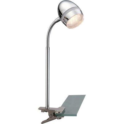 Настольная лампа на прищепке Globo 56206-1K ManjolaНастольные лампы на прищепке<br>Настольная лампа – это не просто источник дополнительного освещения, но и оригинальный элемент декора. Его можно установить в спальне, гостиной, кабинете и других комнатах. Интернет-магазин «Светодом» предлагает настольные лампы разных стилей по доступным ценам. Благодаря большому ассортименту Вы обязательно найдете в нашем каталоге именно ту модель, которую искали.   Настольная лампа Globo 56206-1K – прекрасный вариант для завершения интерьера. Ее можно включить одновременно с люстрой для более яркого освещения или без нее для создания уютной атмосферы, настраивающей на отдых.   Купить настольную лампу Globo 56206-1K Вы можете с помощью виртуальной «Корзины» или по контактным номерам, указанным на сайте.<br><br>Тип лампы: галогенная / LED-светодиодная<br>Тип цоколя: LED<br>Цвет арматуры: серебристый<br>Количество ламп: 1<br>Ширина, мм: 200<br>Длина, мм: 200<br>Высота, мм: 400<br>MAX мощность ламп, Вт: 3