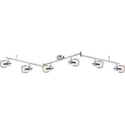 Светильник Globo 56213-6 RoisБолее 5 ламп<br><br><br>S освещ. до, м2: 1<br>Тип товара: Светильник поворотный спот<br>Скидка, %: 64<br>Тип лампы: галогенная / LED-светодиодная<br>Тип цоколя: LED<br>Количество ламп: 6<br>Ширина, мм: 120<br>MAX мощность ламп, Вт: 4<br>Длина, мм: 150<br>Высота, мм: 140<br>Цвет арматуры: серебристый