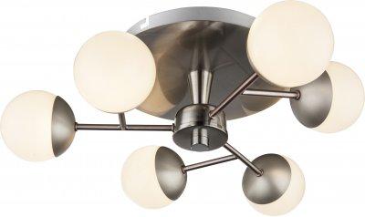 Люстра потолочная Globo 56222-6люстры хай тек потолочные<br><br><br>Установка на натяжной потолок: Ограничено<br>S освещ. до, м2: 10<br>Тип лампы: LED<br>Тип цоколя: SMD LED<br>Цвет арматуры: матовый никель серебристый<br>Количество ламп: 6<br>Диаметр, мм мм: 405<br>Высота, мм: 130