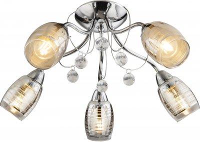 Люстра потолочная Globo 56688-5Потолочные<br><br><br>Установка на натяжной потолок: Да<br>S освещ. до, м2: 10<br>Тип лампы: Накаливания / энергосбережения / светодиодная<br>Тип цоколя: E14<br>Цвет арматуры: хром серебристый<br>Количество ламп: 5<br>Диаметр, мм мм: 550<br>Высота, мм: 230<br>MAX мощность ламп, Вт: 40