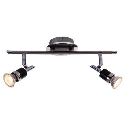Светильник Globo 57600-2 DiamondbacksДвойные<br><br><br>S освещ. до, м2: 6<br>Тип товара: Светильник поворотный спот<br>Скидка, %: 21<br>Тип лампы: галогенная / LED-светодиодная<br>Тип цоколя: GU10<br>Количество ламп: 2<br>MAX мощность ламп, Вт: 50<br>Длина, мм: 380<br>Высота, мм: 160<br>Цвет арматуры: серебристый