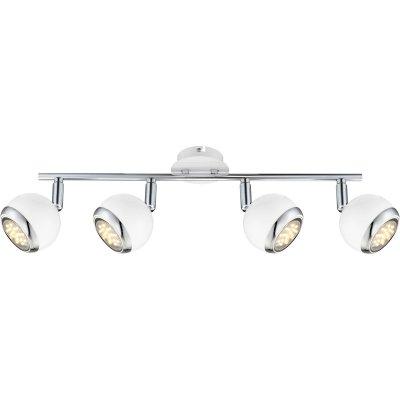 Светильник поворотный спот Globo 57882-4oС 4 лампами<br><br><br>Тип товара: Светильник поворотный спот<br>Тип цоколя: GU10<br>Количество ламп: 4<br>Ширина, мм: 550<br>MAX мощность ламп, Вт: 50<br>Высота, мм: 150<br>Цвет арматуры: белый