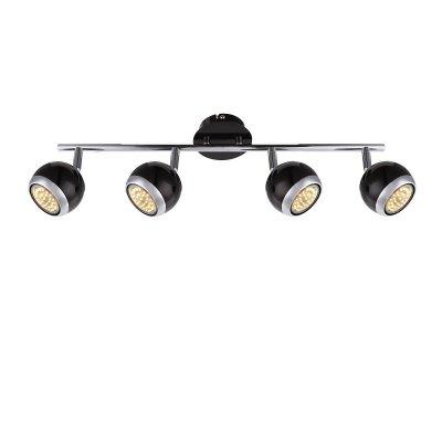Светильник поворотный спот Globo 57884-4oС 4 лампами<br>Светильники-споты – это оригинальные изделия с современным дизайном. Они позволяют не ограничивать свою фантазию при выборе освещения для интерьера. Такие модели обеспечивают достаточно качественный свет. Благодаря компактным размерам Вы можете использовать несколько спотов для одного помещения.  Интернет-магазин «Светодом» предлагает необычный светильник-спот Globo 57884-4O по привлекательной цене. Эта модель станет отличным дополнением к люстре, выполненной в том же стиле. Перед оформлением заказа изучите характеристики изделия.  Купить светильник-спот Globo 57884-4O в нашем онлайн-магазине Вы можете либо с помощью формы на сайте, либо по указанным выше телефонам. Обратите внимание, что мы предлагаем доставку не только по Москве и Екатеринбургу, но и всем остальным российским городам.<br><br>Тип лампы: галогенная/LED<br>Тип цоколя: GU10<br>Количество ламп: 4<br>Ширина, мм: 550<br>MAX мощность ламп, Вт: 50<br>Высота, мм: 150<br>Цвет арматуры: черный