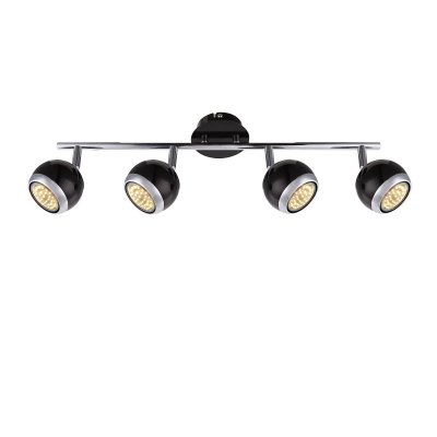 Светильник поворотный спот Globo 57884-4oС 4 лампами<br><br><br>Тип товара: Светильник поворотный спот<br>Скидка, %: 21<br>Тип лампы: галогенная/LED<br>Тип цоколя: GU10<br>Количество ламп: 4<br>Ширина, мм: 550<br>MAX мощность ламп, Вт: 50<br>Высота, мм: 150<br>Цвет арматуры: черный