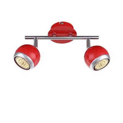 Светильник поворотный спот Globo 57885-2oДвойные<br><br><br>Тип товара: Светильник поворотный спот<br>Скидка, %: 21<br>Тип лампы: галогенная/LED<br>Тип цоколя: GU10<br>Количество ламп: 2<br>Ширина, мм: 250<br>MAX мощность ламп, Вт: 50<br>Высота, мм: 150<br>Цвет арматуры: красный