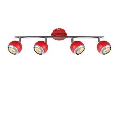 Светильник поворотный спот Globo 57885-4oС 4 лампами<br>Светильники-споты – это оригинальные изделия с современным дизайном. Они позволяют не ограничивать свою фантазию при выборе освещения для интерьера. Такие модели обеспечивают достаточно качественный свет. Благодаря компактным размерам Вы можете использовать несколько спотов для одного помещения.  Интернет-магазин «Светодом» предлагает необычный светильник-спот Globo 57885-4O по привлекательной цене. Эта модель станет отличным дополнением к люстре, выполненной в том же стиле. Перед оформлением заказа изучите характеристики изделия.  Купить светильник-спот Globo 57885-4O в нашем онлайн-магазине Вы можете либо с помощью формы на сайте, либо по указанным выше телефонам. Обратите внимание, что мы предлагаем доставку не только по Москве и Екатеринбургу, но и всем остальным российским городам.<br><br>Тип лампы: галогенная/LED<br>Тип цоколя: GU10<br>Количество ламп: 4<br>Ширина, мм: 550<br>MAX мощность ламп, Вт: 50<br>Высота, мм: 150<br>Цвет арматуры: красный