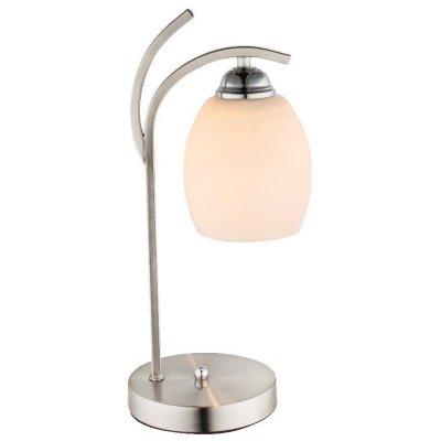 Настольная лампа Globo 60214TСовременные<br>Настольная лампа – это не просто источник дополнительного освещения, но и оригинальный элемент декора. Его можно установить в спальне, гостиной, кабинете и других комнатах. Интернет-магазин «Светодом» предлагает настольные лампы разных стилей по доступным ценам. Благодаря большому ассортименту Вы обязательно найдете в нашем каталоге именно ту модель, которую искали.   Настольная лампа Globo 60214T – прекрасный вариант для завершения интерьера. Ее можно включить одновременно с люстрой для более яркого освещения или без нее для создания уютной атмосферы, настраивающей на отдых.   Купить настольную лампу Globo 60214T Вы можете с помощью виртуальной «Корзины» или по контактным номерам, указанным на сайте.<br><br>Тип цоколя: E27<br>Цвет арматуры: серебристый никель<br>Количество ламп: 1<br>Ширина, мм: 150<br>Длина, мм: 175<br>Высота, мм: 40<br>MAX мощность ламп, Вт: 60