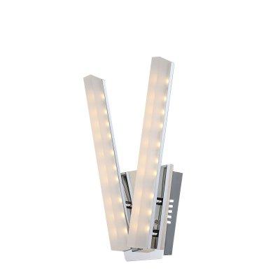 Светильник настенный Globo 67057-2W VARAZZEБра хай тек стиля<br><br><br>Тип цоколя: LED<br>Цвет арматуры: серебристый хром<br>Количество ламп: 2<br>Ширина, мм: 190<br>Высота, мм: 360<br>MAX мощность ламп, Вт: 5