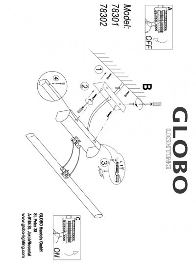 Светильник Globo 78301Для картин<br><br><br>Тип цоколя: LED<br>Цвет арматуры: серебристый хром<br>Количество ламп: 1<br>Ширина, мм: 180<br>Длина, мм: 430<br>Высота, мм: 160<br>MAX мощность ламп, Вт: 3