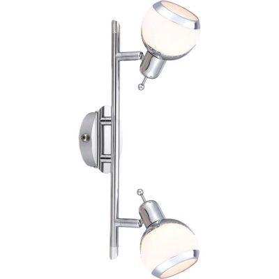Светильник Globo 56100-2 AngeloДвойные<br>Светильники-споты – это оригинальные изделия с современным дизайном. Они позволяют не ограничивать свою фантазию при выборе освещения для интерьера. Такие модели обеспечивают достаточно качественный свет. Благодаря компактным размерам Вы можете использовать несколько спотов для одного помещения. <br>Интернет-магазин «Светодом» предлагает необычный светильник-спот Globo 56100-2 по привлекательной цене. Эта модель станет отличным дополнением к люстре, выполненной в том же стиле. Перед оформлением заказа изучите характеристики изделия. <br>Купить светильник-спот Globo 56100-2 в нашем онлайн-магазине Вы можете либо с помощью формы на сайте, либо по указанным выше телефонам. Обратите внимание, что мы предлагаем доставку не только по Москве и Екатеринбургу, но и всем остальным российским городам.<br><br>S освещ. до, м2: 4<br>Тип товара: Светильник поворотный спот<br>Тип лампы: галогенная / LED-светодиодная<br>Тип цоколя: G9<br>Количество ламп: 2<br>Ширина, мм: 145<br>MAX мощность ламп, Вт: 33<br>Диаметр, мм мм: 100<br>Длина, мм: 350<br>Расстояние от стены, мм: 130<br>Высота, мм: 130<br>Оттенок (цвет): белый<br>Цвет арматуры: серебристый