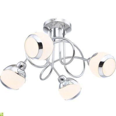 Люстра потолочная Globo 56100-4D AngeloПотолочные<br><br><br>Установка на натяжной потолок: Ограничено<br>S освещ. до, м2: 8<br>Крепление: Планка<br>Тип товара: Потолочный светильник<br>Тип лампы: галогенная / LED-светодиодная<br>Тип цоколя: G9<br>Количество ламп: 4<br>Ширина, мм: 360<br>MAX мощность ламп, Вт: 33<br>Диаметр, мм мм: 360<br>Длина, мм: 100<br>Расстояние от стены, мм: 190<br>Высота, мм: 190<br>Оттенок (цвет): белый<br>Цвет арматуры: серебристый