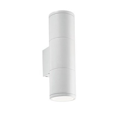Светильник бра Ideal Lux GUN AP2 SMALL BIANCOХай-тек<br><br><br>Тип цоколя: GU10<br>Количество ламп: 2<br>Диаметр, мм мм: 70<br>Расстояние от стены, мм: 90<br>Высота, мм: 180<br>MAX мощность ламп, Вт: 50