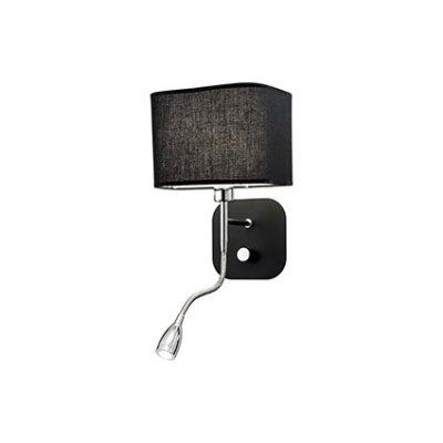 Светильник бра Ideal Lux HOLIDAY AP2 NEROСовременные<br><br><br>Тип цоколя: Е14+LED<br>Количество ламп: 2<br>Диаметр, мм мм: 180<br>Высота, мм: 400<br>MAX мощность ламп, Вт: 40+1