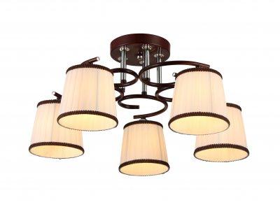 Люстра потолочная J-light 1153/5C NICOLEпотолочные люстры кантри стиля<br><br><br>Установка на натяжной потолок: да<br>S освещ. до, м2: 15<br>Тип цоколя: E27<br>Цвет арматуры: венге, серебристый хром<br>Количество ламп: 5<br>Ширина, мм: 550<br>Длина, мм: 550<br>Высота, мм: 375<br>MAX мощность ламп, Вт: 60