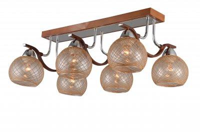 Люстра потолочная J-light 1294/6C LORAсовременные потолочные люстры модерн<br><br><br>Установка на натяжной потолок: да<br>S освещ. до, м2: 18<br>Тип цоколя: E27<br>Цвет арматуры: дерево<br>Количество ламп: 6<br>Ширина, мм: 380<br>Длина, мм: 600<br>Высота, мм: 230<br>MAX мощность ламп, Вт: 60