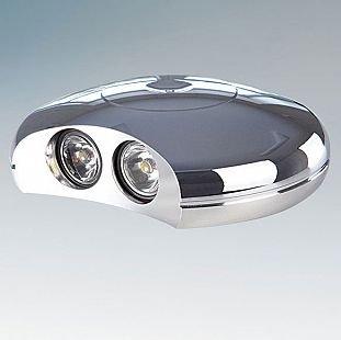 Lightstar MURO 212224 СветильникНакладные<br><br><br>Тип цоколя: LED 2x1V<br>Количество ламп: 2<br>MAX мощность ламп, Вт: 1W<br>Размеры: D 120  H 30<br>Цвет арматуры: серебристый хром