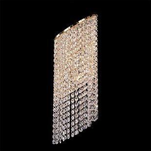 Lightstar NUVOLA 709632 Светильник настенный браХрустальные<br><br><br>Тип лампы: Накаливания / энергосбережения / светодиодная<br>Тип цоколя: E14<br>Количество ламп: 2<br>MAX мощность ламп, Вт: 40<br>Размеры: H 550 W x190 Выступ 140<br>Цвет арматуры: Золотой