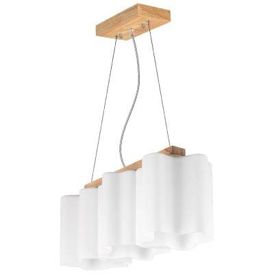 Люстра подвесная Lightstar 802135 Nubi legnoтройные подвесные светильники<br>Модели из новой коллекции Nubi Legno отличаются близостью к скандинавскому стилю. Они выполнены в классическом для Севера цветовом сочетании: белоснежно-матовые стеклянные плафоны и корпус цвета светлого дерева. Волнистые плафоны кажутся невесомыми складками ткани, в глубине которых спрятались лампочки. Плотная матовость стекла смягчает их лучи, рассеивая свет в пространстве. Когда светильник Nubi Legno включен, он окрашивается изнутри теплым светом, как облако, наполненное солнечными лучами.