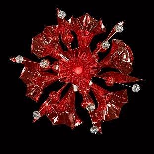 Светильник настенный бра Lightstar 893622 CELESTAФлористика<br><br><br>Тип цоколя: G9<br>Количество ламп: 6<br>MAX мощность ламп, Вт: 25<br>Размеры: W700 H700 отступ<br>Оттенок (цвет): красный<br>Цвет арматуры: серебристый