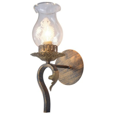 Светильник LGO lsp-0091Рустика<br><br><br>Тип лампы: Накаливания / энергосбережения / светодиодная<br>Тип цоколя: E14<br>Количество ламп: 1<br>Ширина, мм: 110<br>MAX мощность ламп, Вт: 40<br>Расстояние от стены, мм: 180<br>Высота, мм: 330<br>Цвет арматуры: черный