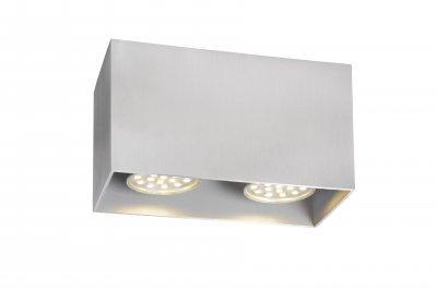 Светильник Lucide 09101/02/12накладные точечные светильники<br><br><br>S освещ. до, м2: 5<br>Тип лампы: Накаливания / энергосбережения / светодиодная<br>Тип цоколя: GU10<br>Цвет арматуры: серебристый<br>Количество ламп: 2<br>Ширина, мм: 82<br>Длина, мм: 165<br>Высота, мм: 95<br>MAX мощность ламп, Вт: 50