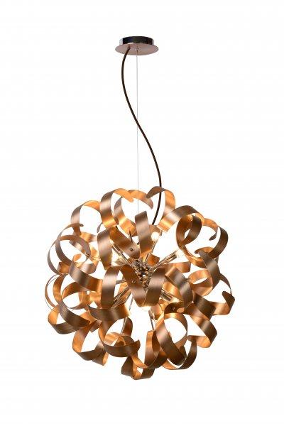 Светильник Lucide 13412/48/17Подвесные<br><br><br>Установка на натяжной потолок: Да<br>S освещ. до, м2: 19<br>Тип лампы: галогенная/LED<br>Тип цоколя: G9<br>Цвет арматуры: атласный медный<br>Количество ламп: 12<br>Диаметр, мм мм: 600<br>Высота, мм: 1200