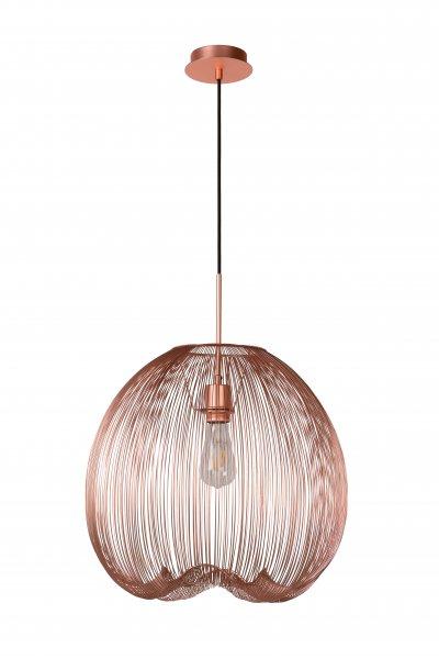 Lucide WIRIO 20401/45/17 подвесной светильникОдиночные<br><br><br>S освещ. до, м2: 3<br>Тип цоколя: E27<br>Цвет арматуры: медный<br>Количество ламп: 1<br>Ширина, мм: 460<br>Высота, мм: 500<br>MAX мощность ламп, Вт: 60
