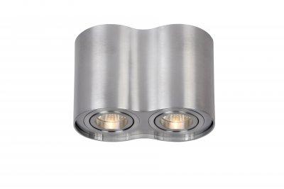 Светильник Lucide 22952/02/12Накладные точечные<br><br><br>S освещ. до, м2: 5<br>Тип лампы: галогенная/LED<br>Тип цоколя: GU10<br>Цвет арматуры: серебристый<br>Количество ламп: 2<br>Ширина, мм: 96<br>Высота, мм: 125<br>MAX мощность ламп, Вт: 50