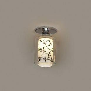 Светильник Lussole lsj-0300-01Круглые<br>Потолочный светильник Lussole lsj-0300-01 воплощает в себе лучшие характеристики стиля «модерн»: оригинальную, запоминающуюся конструкцию и гармоничные цветовые оттенки. Внутри прозрачного стеклянного плафона расположен матовый белый плафон с нанесенным на него «растительным» черным рисунком. В результате прохождения лучей сквозь эти «слои» освещение получается направленным, «мягким» и приятным для зрения. Наиболее оптимально использовать светильник в качестве подсветки небольшой (до 3 кв.м.) площади, добавив потолочную люстру и комплект настенных бра, чтобы пространство выглядело «цельным», уютным и совершенным.<br><br>Установка на натяжной потолок: Ограничено<br>S освещ. до, м2: 3<br>Крепление: Планка<br>Тип лампы: галогенная / LED-светодиодная<br>Тип цоколя: G9<br>Количество ламп: 1<br>MAX мощность ламп, Вт: 40<br>Диаметр, мм мм: 80<br>Высота, мм: 130<br>Цвет арматуры: серебристый