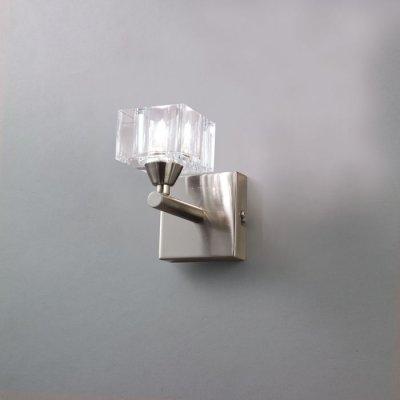 Светильник Mantra 1112 CUADRAXсовременные бра модерн<br><br><br>S освещ. до, м2: 2<br>Тип лампы: галогенная / LED-светодиодная<br>Тип цоколя: G9<br>Цвет арматуры: серебристый никель<br>Количество ламп: 1<br>Ширина, мм: 155<br>Размеры: W 85 H 155 Выступ 130<br>Длина, мм: 85<br>Высота, мм: 130<br>MAX мощность ламп, Вт: 40